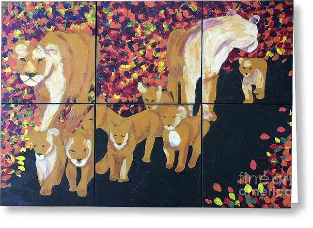 Greeting Card featuring the painting Lioness Pride by Donald J Ryker III