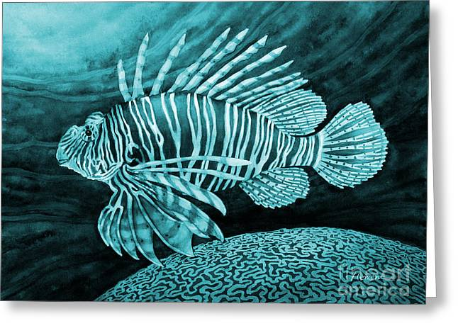 Lionfish On Blue Greeting Card by Hailey E Herrera