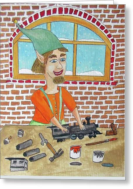 Lionle The Train Maker Elf Greeting Card by Gordon Wendling