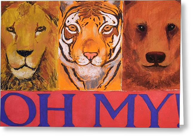 Lions And Tigers And Bears Greeting Card by Mary McInnis