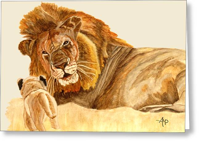 Lions Greeting Card by Angeles M Pomata