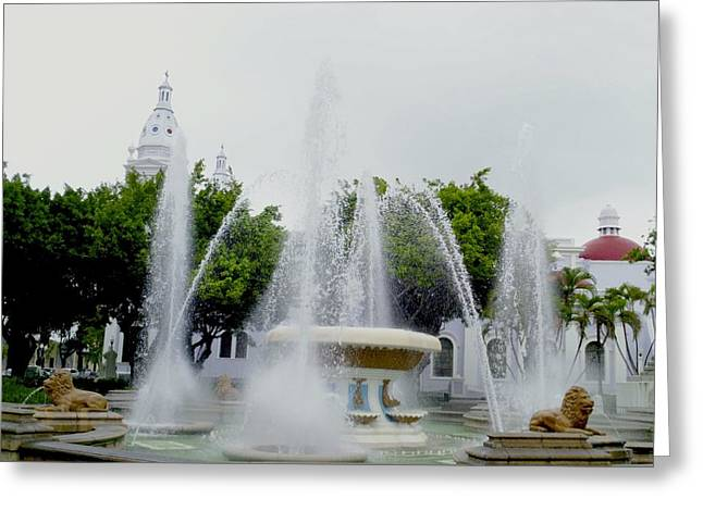Lions Fountain, Ponce, Puerto Rico Greeting Card