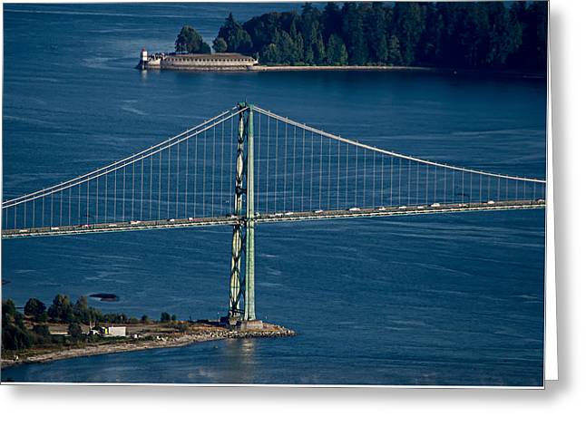 Lions Gate Bridge And Brockton Point Greeting Card