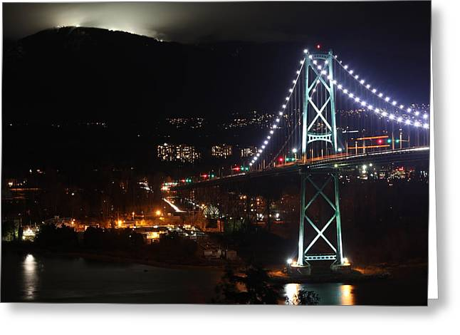 Lions Gate Bridge And Grouse Mountain Greeting Card