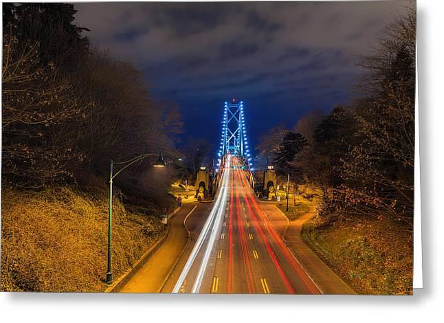 Lions Gate Bridge Light Trails Greeting Card by David Gn