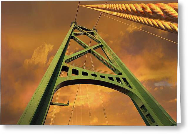 Lions Gate Bridge Tower Greeting Card by David Gn