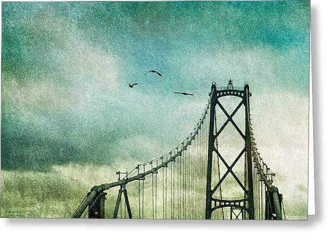 Lions Gate Bridge Vancouver Greeting Card by Peter v Quenter