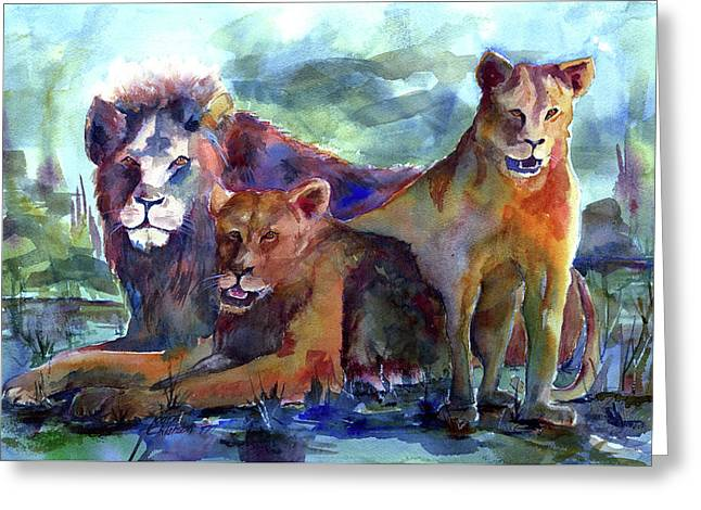 Lion's Play Greeting Card