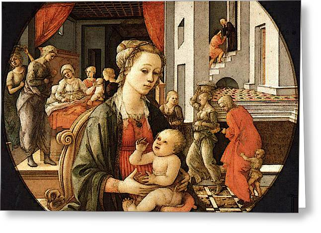 Lippi Fra Filippo Virgin With The Child And Scenes From The Life Of St Anne Greeting Card