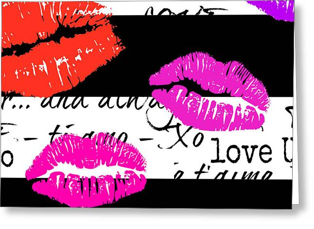 Lips And Kisses And Love Art Greeting Card