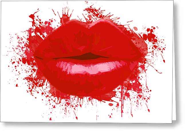 Lips - Light Red Watercolour Greeting Card