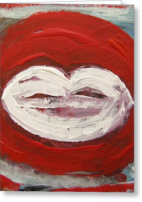 Lips-white Greeting Card