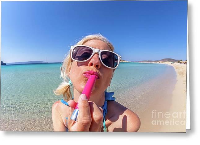 Lipstick Applying Greeting Card