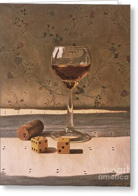 Liqueur Glass And Pair Of Dice Greeting Card by Daniel Montoya