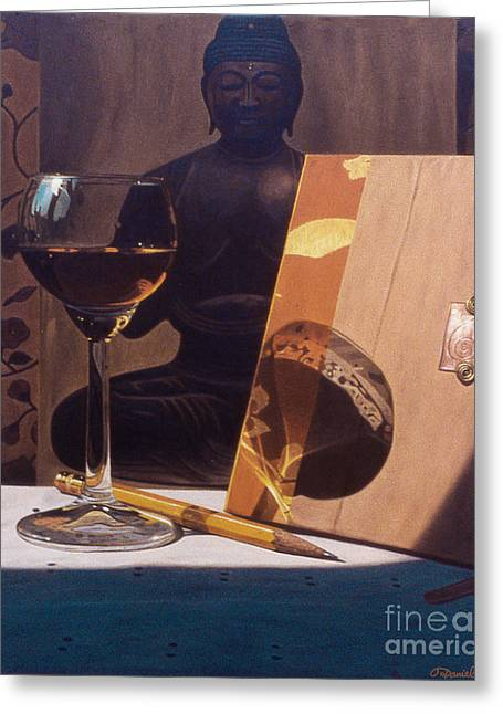 Liqueur Glass And Pencil Greeting Card by Daniel Montoya