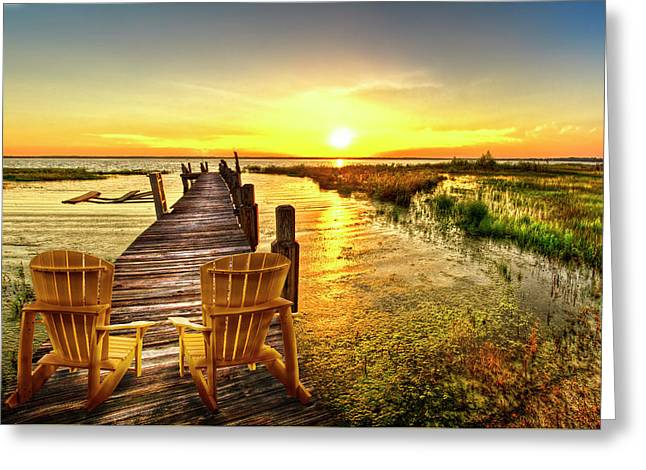 Liquid Gold At Sunset Greeting Card