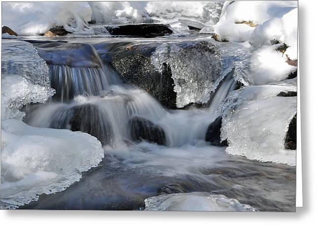 Greeting Card featuring the photograph Winter Waterfall In Maine by Glenn Gordon