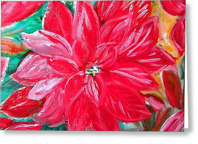 Liquid Red Hot Red Poinsettia Greeting Card