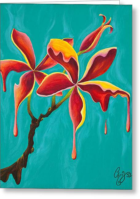 Liquidia Plumeria Greeting Card by Chris  Fifty-one
