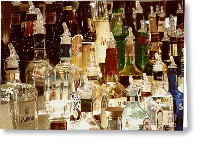 Liquor Bottles Greeting Card by Methune Hively