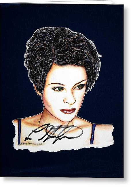 Autographed Mixed Media Greeting Cards - Lisa Standsfield Greeting Card by Joseph Lawrence Vasile