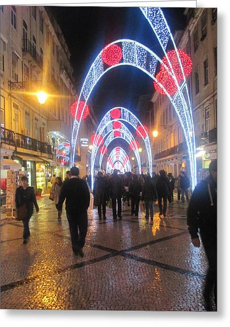 Lisbon By Night With New Year Decorations Greeting Card