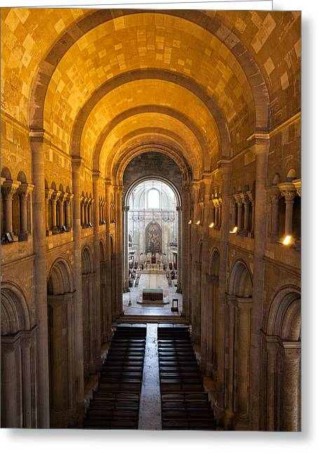 Lisbon Cathedral Interior In Portugal Greeting Card