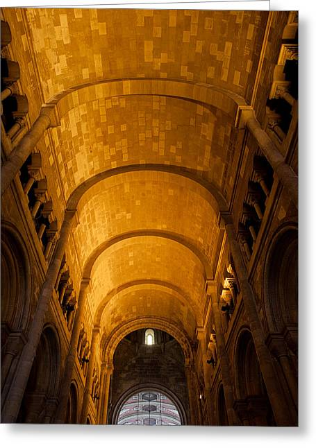 Lisbon Cathedral Interior With Barrel Vault Greeting Card
