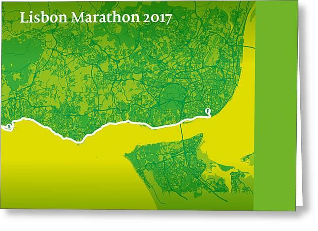 Lisbon Marathon #2 Greeting Card by Big City Artwork