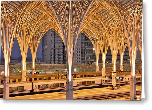 Greeting Card featuring the photograph Lisbon Oriente Station by Marek Stepan