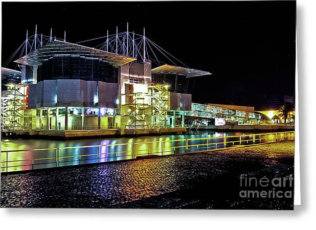Lisbon - Portugal - Oceanarium At Night Greeting Card