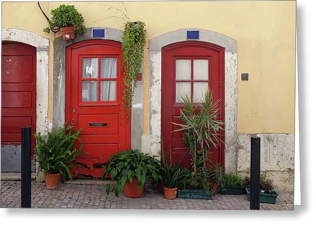 Lisbon Red Doors Greeting Card