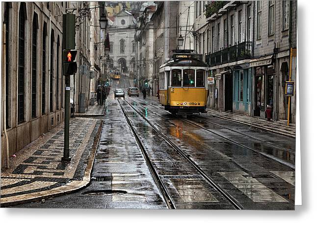 Greeting Card featuring the photograph Lisbon Streets by Jorge Maia