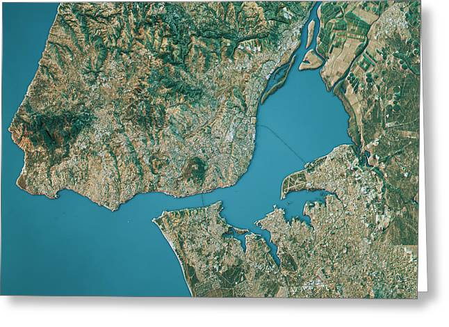 Lisbon Topographic Map Natural Color Top View Greeting Card by Frank Ramspott
