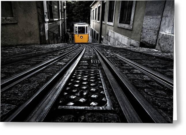 Lisbon Tram Greeting Card by Jorge Maia