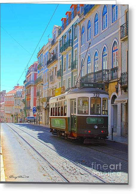 Lisbon Trams Greeting Card by Carey Chen