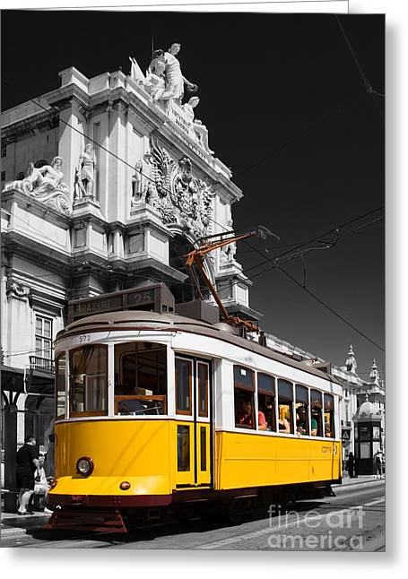 Lisbon's Typical Yellow Tram In Commerce Square Greeting Card by Jose Elias - Sofia Pereira