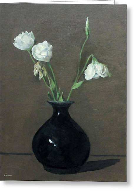 Lisianthus In Black Chinese Vase Greeting Card