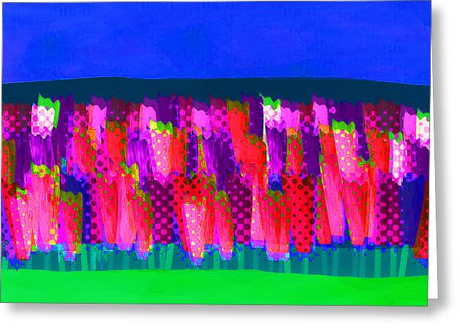 Lisse - Tulips Pink On Blue Greeting Card