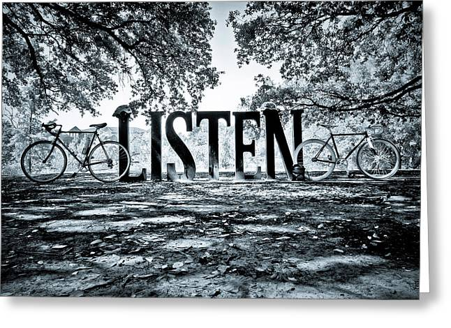 Listen In Blue Greeting Card by Linda Unger