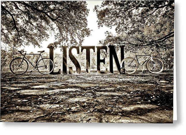 Listen In Sepia Greeting Card