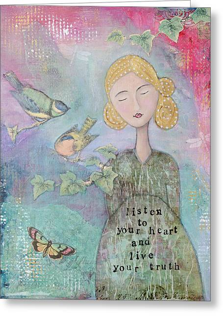 Listen To Your Heart Greeting Card by Margaret Goodwin