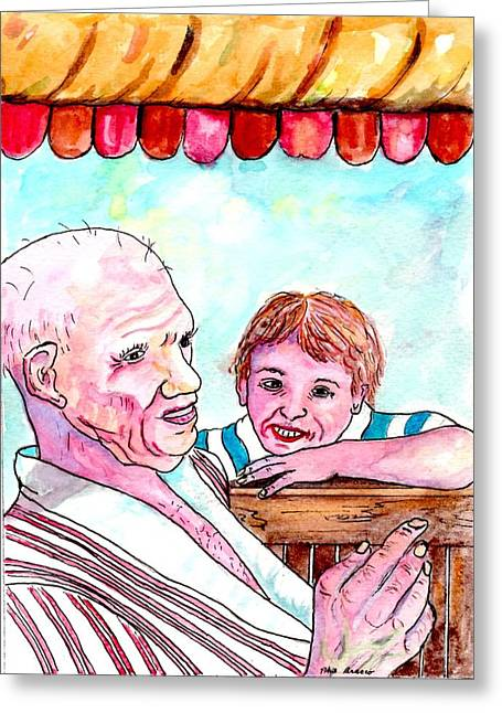 Listening To Grandpas Endless Funny Stories Greeting Card