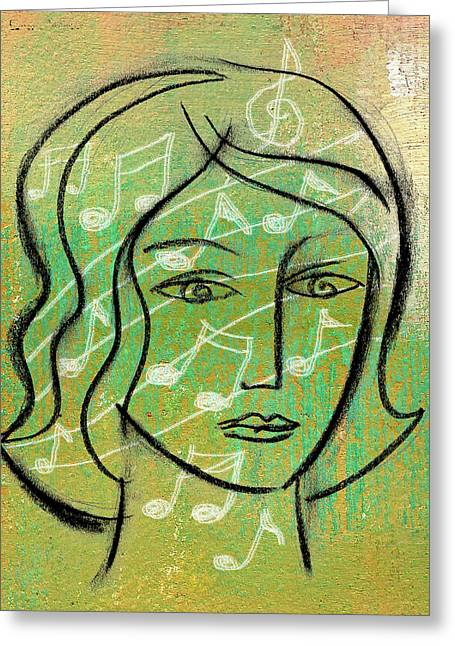 Listening To Music Greeting Card