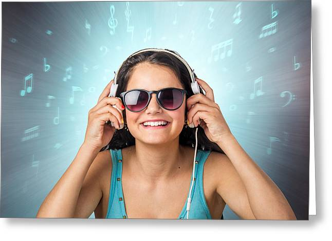 Listening With Headset Greeting Card by Carlos Caetano