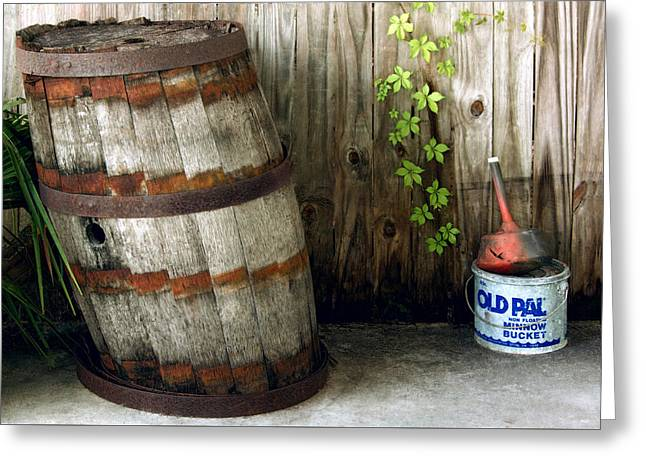 Listing To Port - Barrel And Old Pal Minnow Bucket Greeting Card by Mitch Spence
