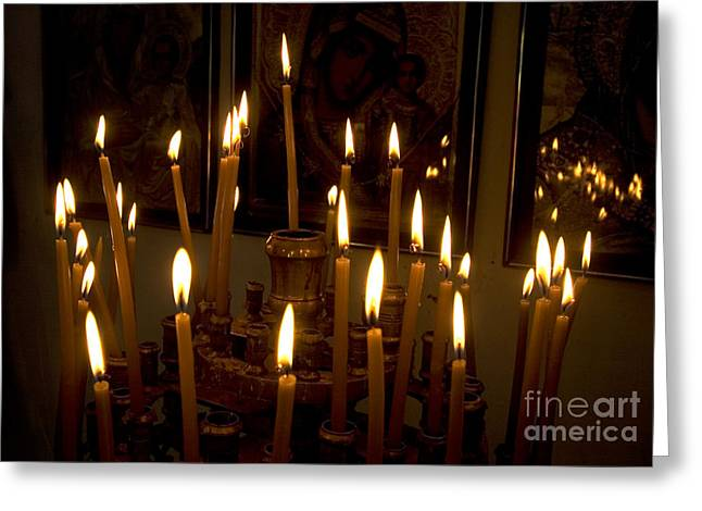 lit Candles in church  Greeting Card by Danny Yanai