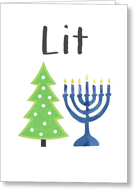 Lit Christmas And Hanukkah- Art By Linda Woods Greeting Card
