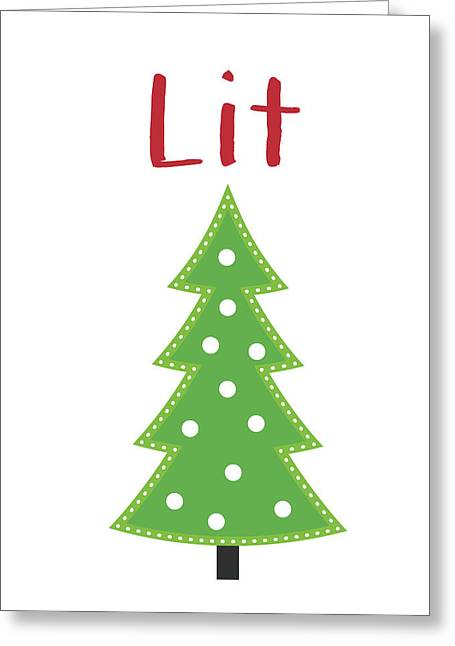 Lit Christmas Tree- Art By Linda Woods Greeting Card