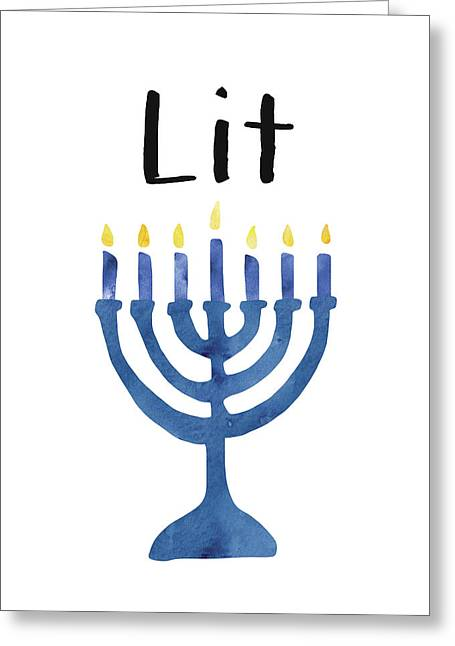 Lit Menorah- Art By Linda Woods Greeting Card
